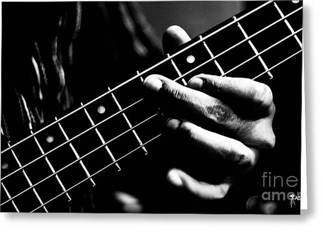Jazz Pyrography Greeting Cards - Bass Greeting Card by Ashray Goyal