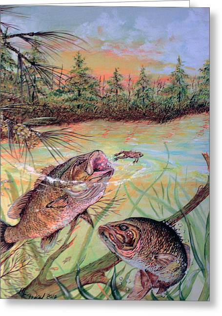 Bass Fish Mixed Media Greeting Cards - Bass at Nightfall Greeting Card by Martin Way