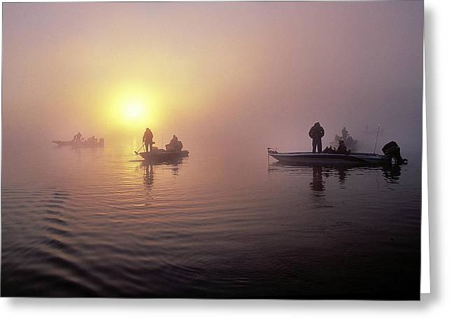 Fishing Tournaments Greeting Cards - Bass Boats At Dawn Greeting Card by Buddy Mays