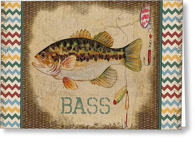 Brown Trout Greeting Cards - Bass-Chevron Greeting Card by Jean Plout