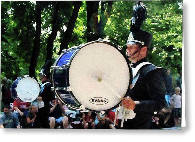Drum Greeting Cards - Bass Drums on Parade Greeting Card by Susan Savad
