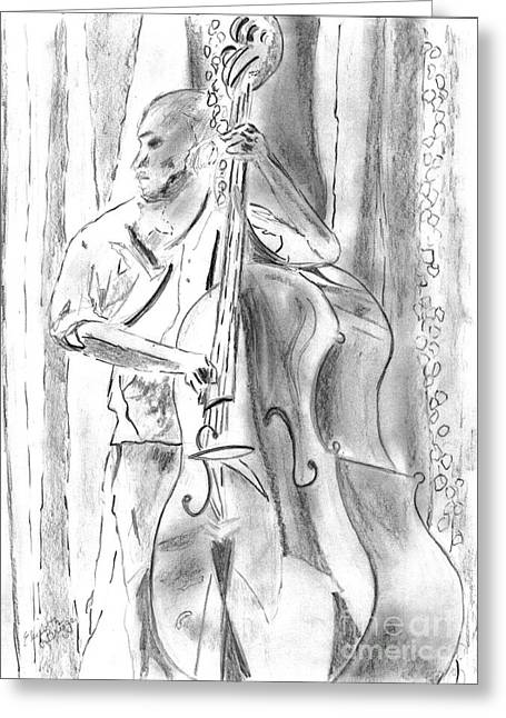 Improvisation Greeting Cards - Bass Fiddle Blues Greeting Card by Elizabeth Briggs
