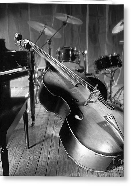 New Stage Greeting Cards - Bass fiddle Greeting Card by Tony Cordoza