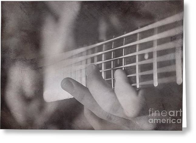 """""""fret Board"""" Greeting Cards - Bass Fingers Greeting Card by Casey Hanson"""