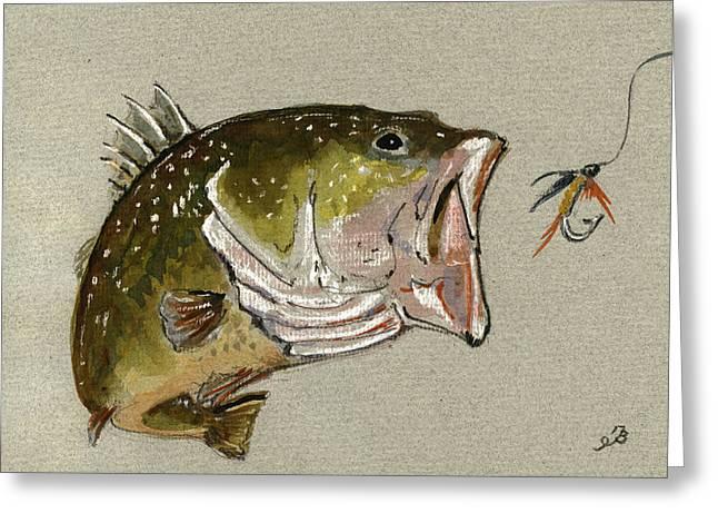 Bass Fish Fly Greeting Card by Juan  Bosco