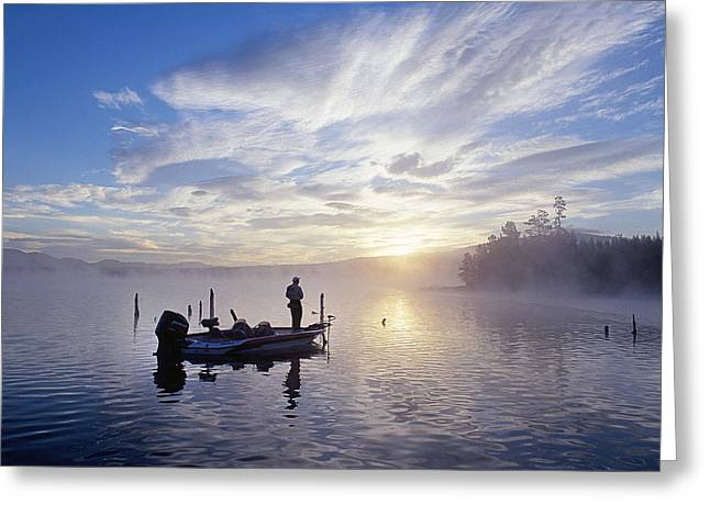 Fishing Tournaments Greeting Cards - Bass Fishing Greeting Card by Buddy Mays