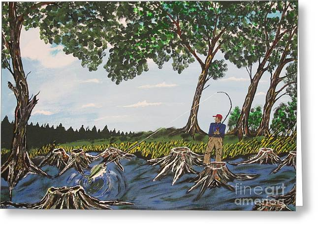 Bass Fishing In The Stumps Greeting Card by Jeffrey Koss