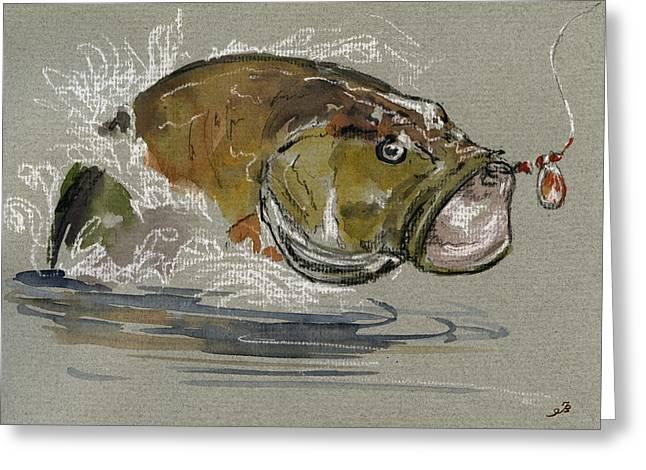 Bass Fishing Greeting Card by Juan  Bosco