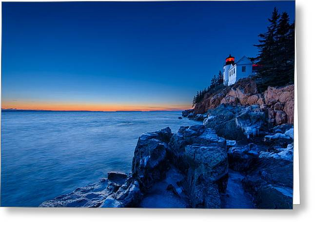 Bass Head Lighthouse Greeting Cards - Bass Harbor Blues Greeting Card by Michael Blanchette