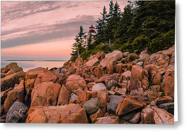Maine Lighthouses Greeting Cards - Bass Harbor Head Light Greeting Card by Abe Pacana