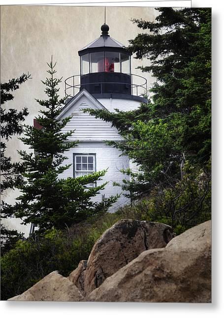 Maine Lighthouses Greeting Cards - Bass Harbor Head Light Greeting Card by Joan Carroll