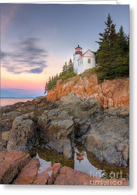 Bass Head Light Greeting Cards - Bass Harbor Head Light V Greeting Card by Clarence Holmes