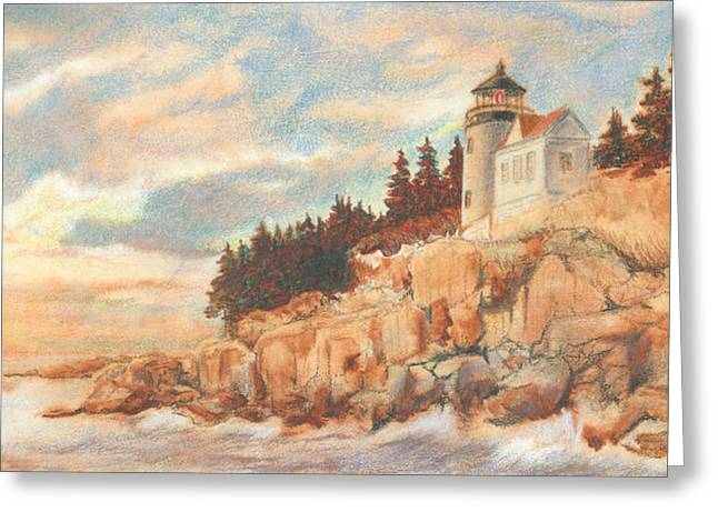 Maine Shore Mixed Media Greeting Cards - Bass Harbor Head Lighthouse Greeting Card by Carol Kutz