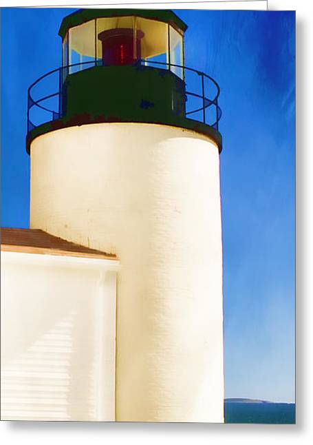 Maine Lighthouses Digital Greeting Cards - Bass Harbor Head Lighthouse Maine Greeting Card by Carol Leigh