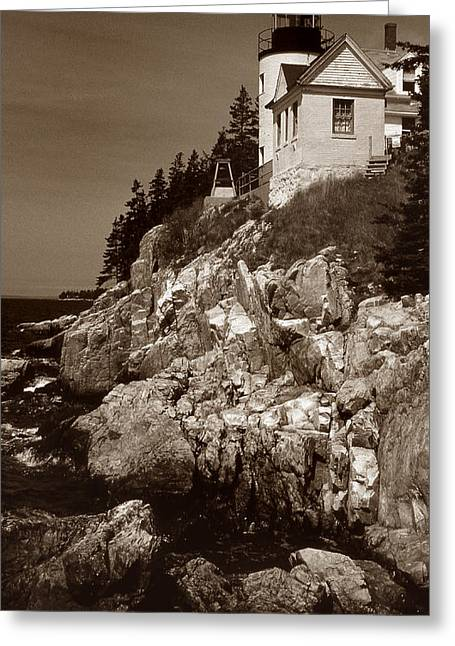Photos Of Ocean Greeting Cards - Bass Harbor Head Lighthouse Greeting Card by Skip Willits