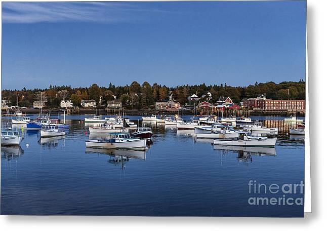 New England Village Greeting Cards - Bass Harbor Greeting Card by John Greim