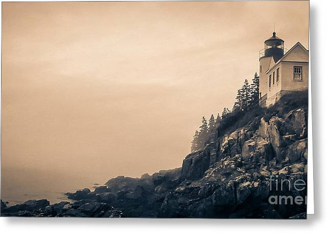 Acadia National Park Photographs Greeting Cards - Bass Harbor Light House Mount Desert Island Maine Greeting Card by Edward Fielding
