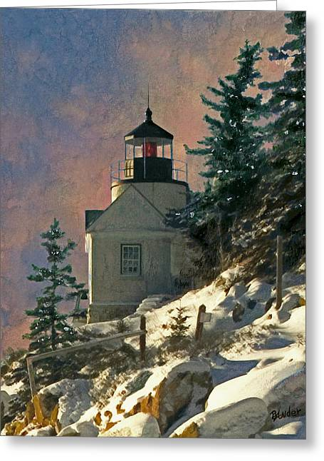 Bass Harbor Lighthouse Greeting Cards - Bass Harbor Light in a Winter Storm Greeting Card by Brent Ander