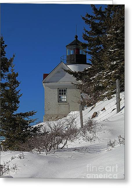Maine Lighthouses Greeting Cards - Bass Harbor Light in Winter Greeting Card by Joseph Marquis
