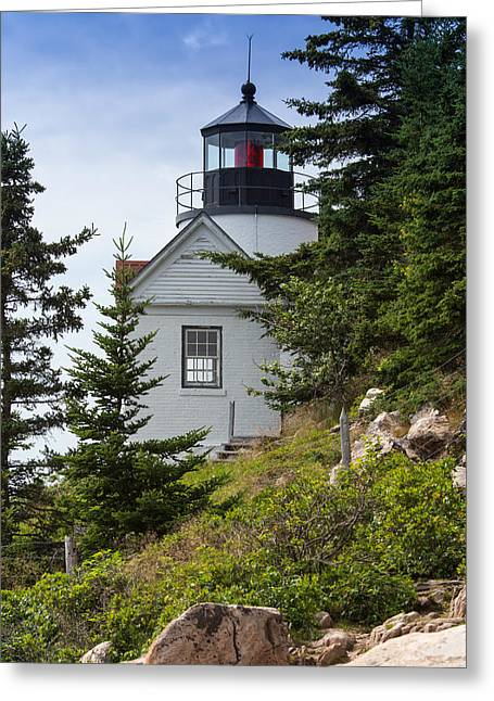 Old Maine Houses Greeting Cards - Bass Harbor Light Station Greeting Card by John Bailey