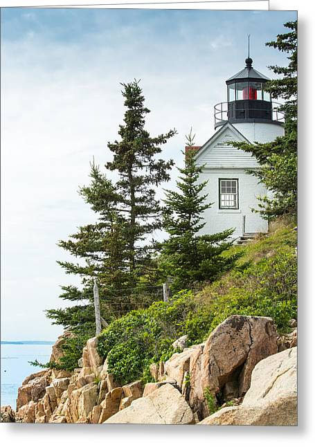 Old Maine Houses Greeting Cards - Bass Harbor Light Station Overlooking the Bay Greeting Card by John Bailey