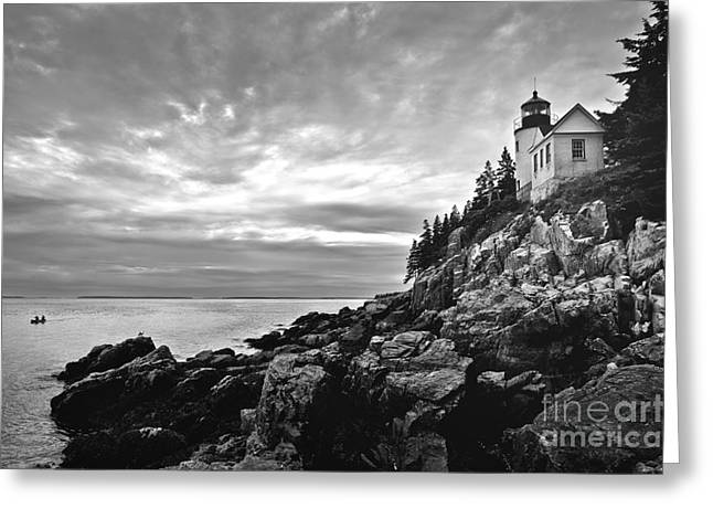 Boats In Harbor Greeting Cards - Bass Harbor Lighthouse at Dusk Greeting Card by Diane Diederich