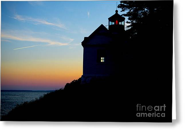 Acadia National Park Photographs Greeting Cards - Bass Harbor Lighthouse at Sunset Greeting Card by Diane Diederich