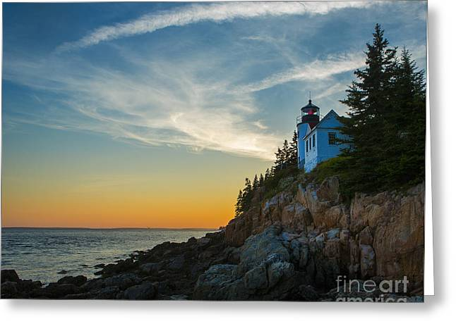 Maine Lighthouses Photographs Greeting Cards - Bass Harbor Lighthouse Greeting Card by Diane Diederich