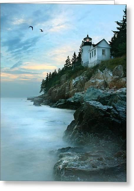 Maine Lighthouses Digital Greeting Cards - Bass Harbor Lighthouse Greeting Card by Lori Deiter