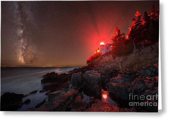 Ver Sprill Photographs Greeting Cards - Bass Harbor Lighthouse Milky Way Greeting Card by Michael Ver Sprill