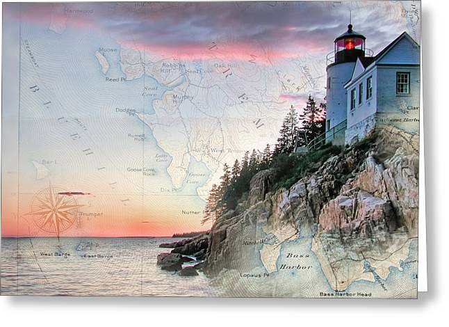 Ocean View Greeting Cards - Bass Harbor lighthouse on a chart Greeting Card by Jeff Folger