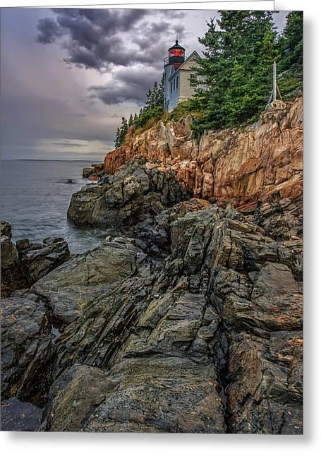 Bass Harbor Lighthouse Greeting Card by Rick Berk