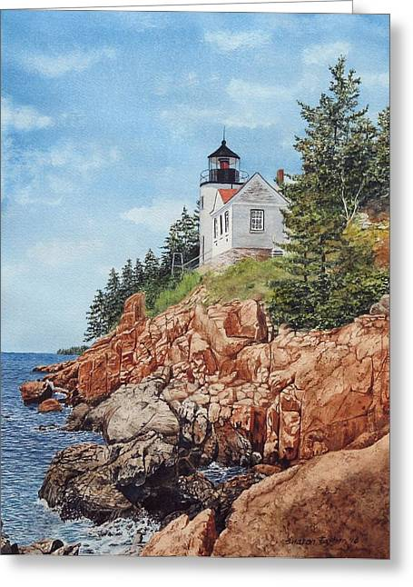 Maine Lighthouses Paintings Greeting Cards - Bass Harbor Lighthouse Greeting Card by Sharon Farber