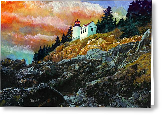Coastal Maine Paintings Greeting Cards - Bass Harbor Lighthouse Sunset Greeting Card by Brent Ander