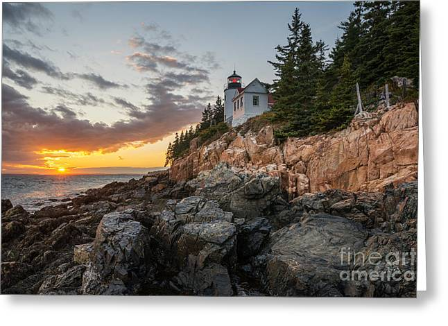 Maine Lighthouses Greeting Cards - Bass Harbor Lighthouse Sunset Greeting Card by Michael Ver Sprill