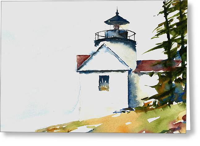 Maine Lighthouses Paintings Greeting Cards - Bass Harbor Lighthouse Greeting Card by William Beaupre