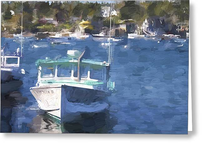 Down East Greeting Cards - Bass Harbor Maine Painterly Effect Greeting Card by Carol Leigh