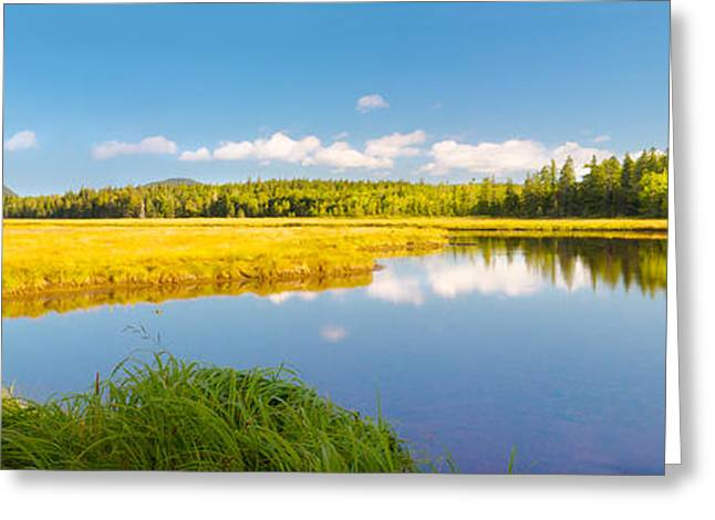 New England Wilderness Greeting Cards - Bass Harbor Marsh Panorama Acadia National Park Photograph Greeting Card by Keith Webber Jr