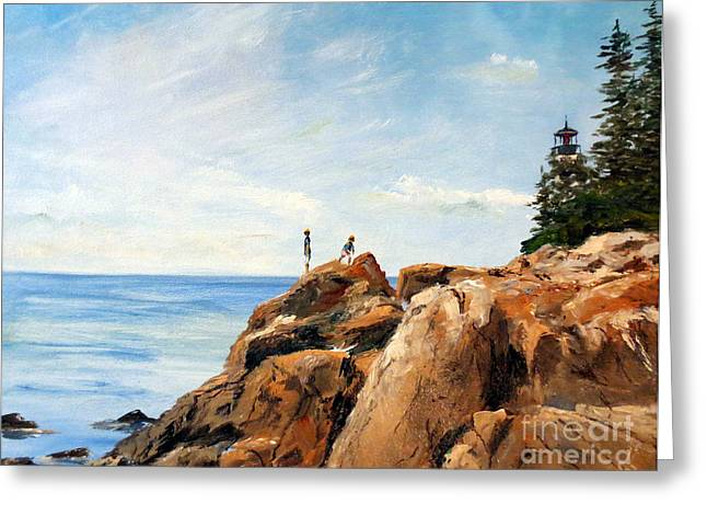 Park Scene Paintings Greeting Cards - Bass Harbor Rocks Greeting Card by Lee Piper