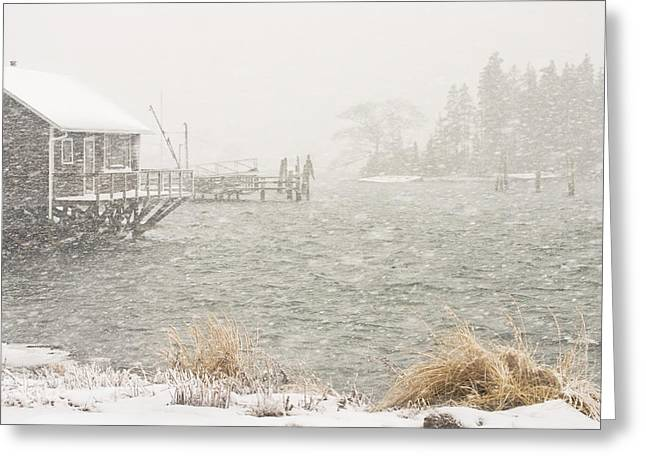 Maine Shore Greeting Cards - Bass Harbor - Snowstorm - Mount Desert Island - Maine Greeting Card by Keith Webber Jr