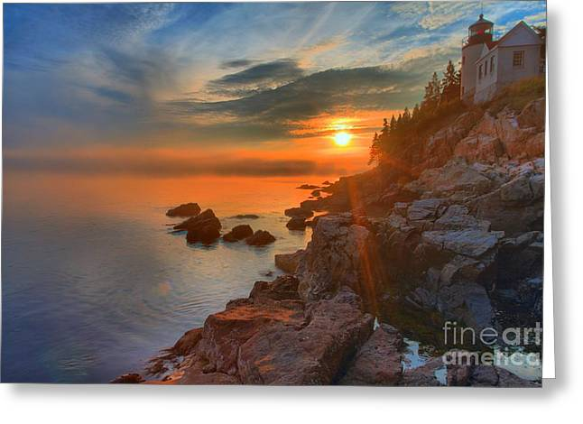 Bass Harbor Sunset Greeting Card by Adam Jewell