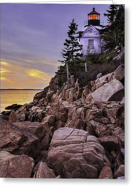 Downeast Greeting Cards - Bass Head Lighthouse Greeting Card by Thomas Schoeller