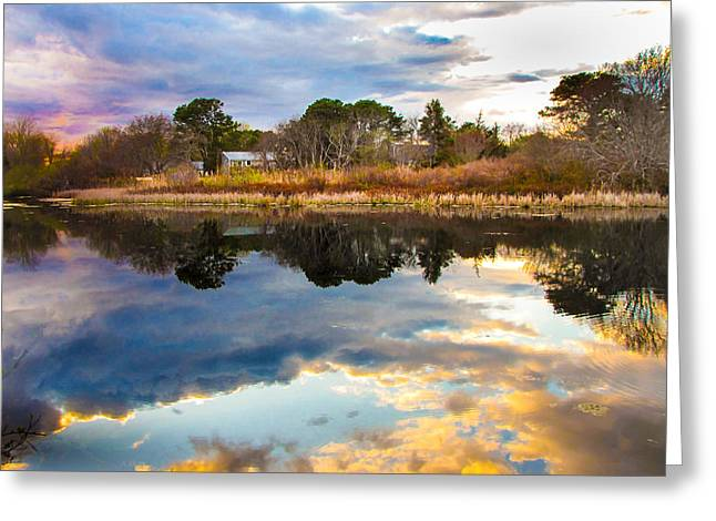 Storm Clouds Cape Cod Greeting Cards - Cape Cod Pond  Greeting Card by Leslie Wells