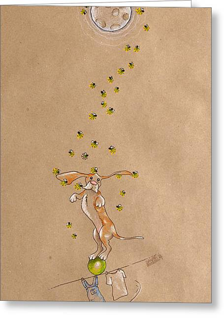 Hound Drawings Greeting Cards - Basset Hound and Fireflies Greeting Card by David Breeding