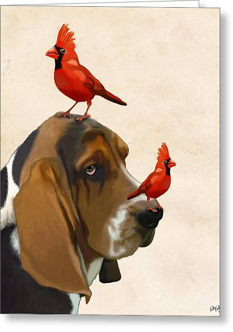Animal Portraits Greeting Cards - Basset Hound and Red Birds Greeting Card by Kelly McLaughlan