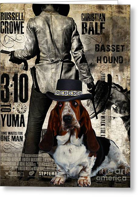 Basset Hound Prints Greeting Cards - Basset Hound Art Canvas Print - 3 10 to Yuma Movie Poster Greeting Card by Sandra Sij