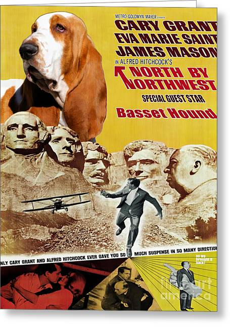 Basset Hound Prints Greeting Cards - Basset Hound Art Canvas Print - North By Northwest Movie Poster Greeting Card by Sandra Sij
