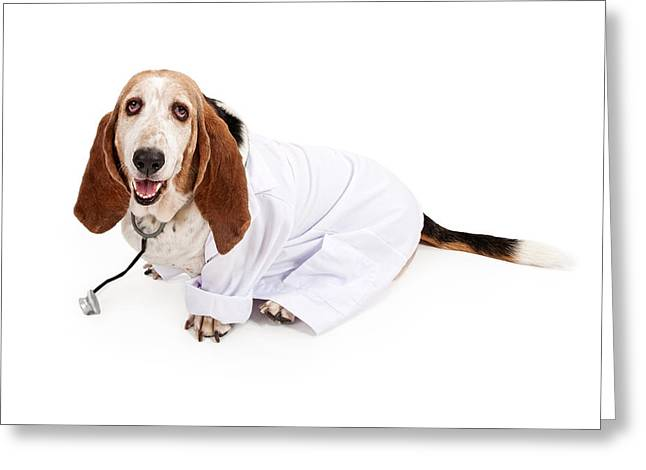 Sad Eyes Greeting Cards - Basset Hound Dressed as a Veterinarian Greeting Card by Susan Schmitz