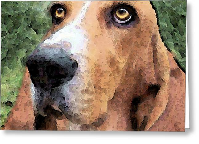 Rescued Animals Greeting Cards - Basset Hound - Irresistible  Greeting Card by Sharon Cummings