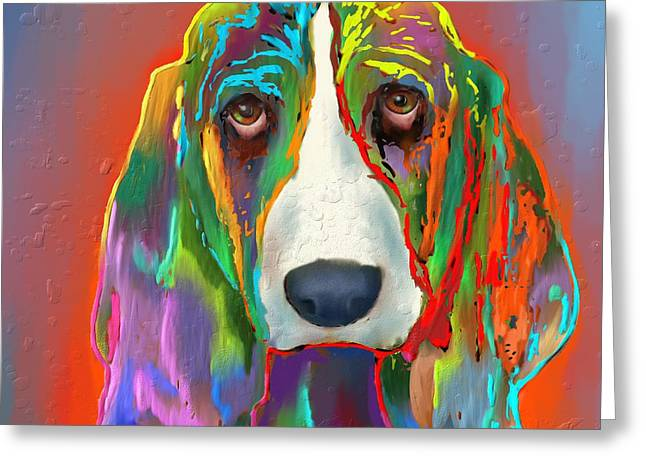 Basset Hound Greeting Card by Marlene Watson